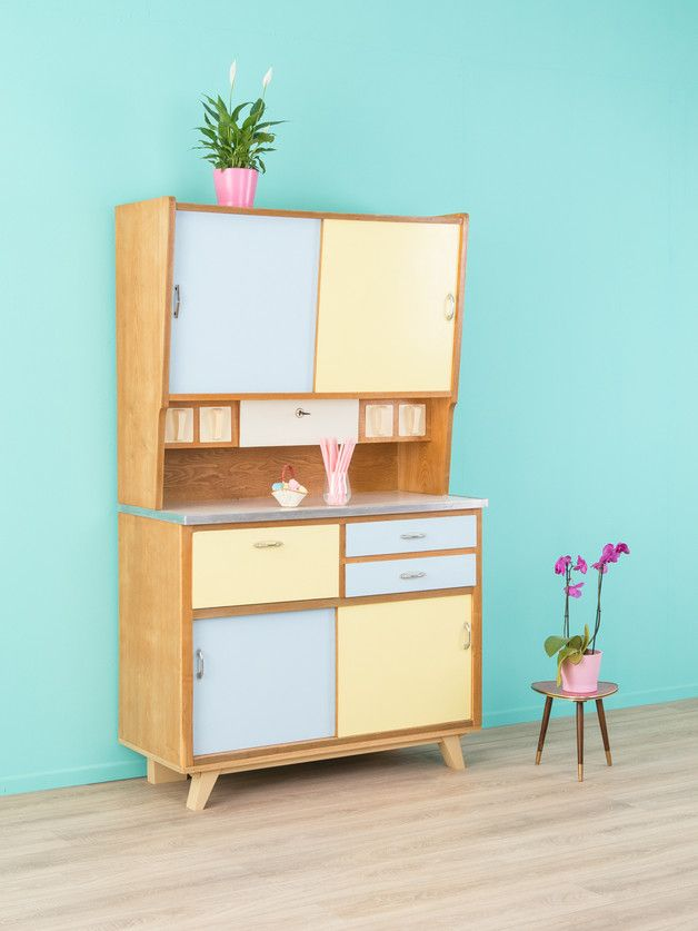 Vintage Küchenschrank in Pastellfarben / old pastel-colored kitchen cupboard made by Mid-Century-Friends via DaWanda.com