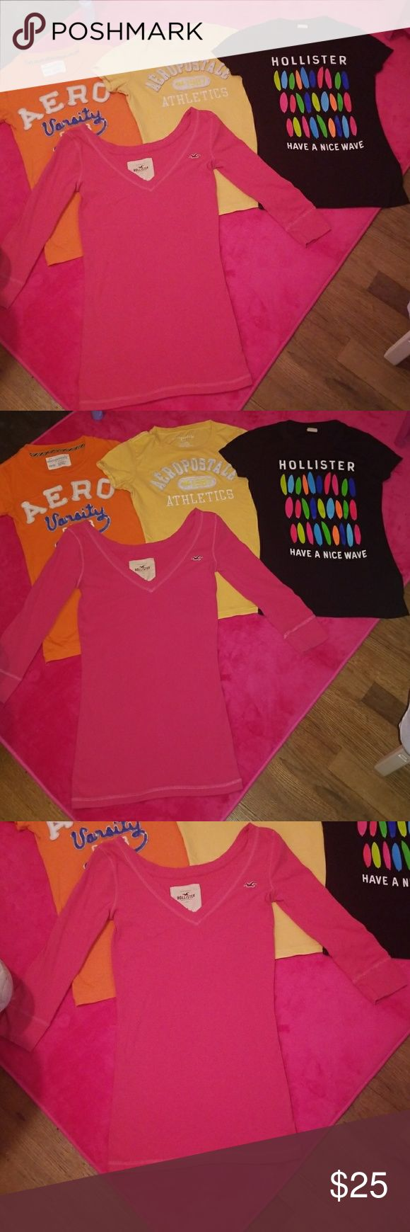 Hollister & Aeropastle Women's Shirt Bundle 2 Aeropastle Short Sleeved Tee Shirts  1 Hollister Short Sleeved Tee Shirt  1 Hollister Quarter Sleeved V-neck Tee Shirt   All 4 Tops Fit a Women's Size Small  All are in excellent condition Hollister Tops Tees - Short Sleeve