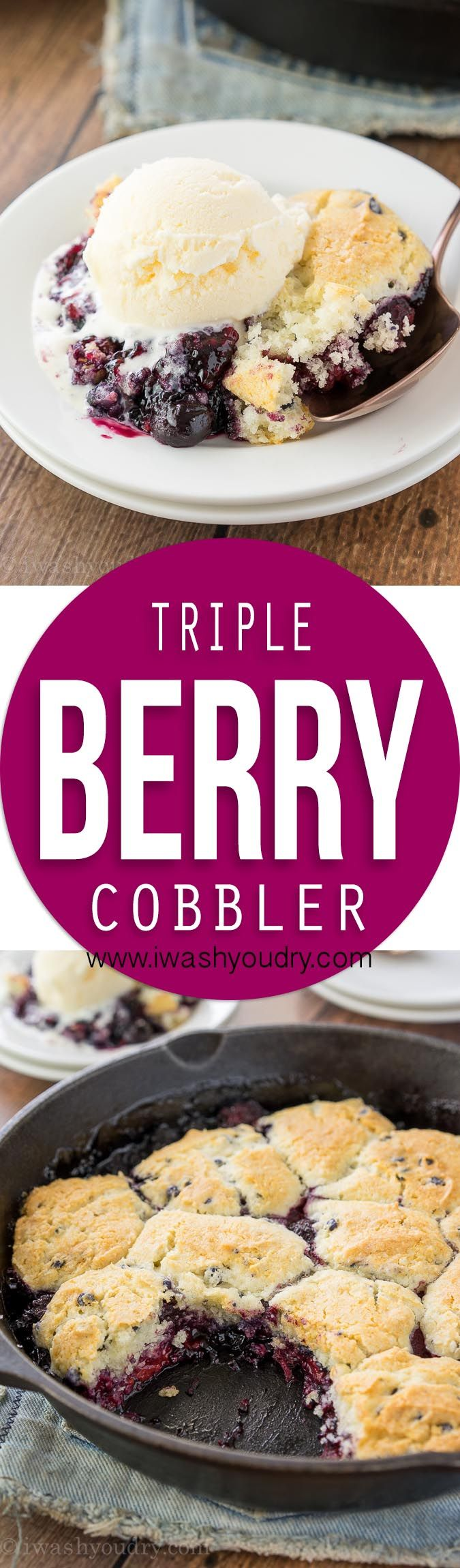 This Triple Berry Cobbler recipe is just 5 ingredients and made in just one skillet! The perfect easy dessert thanks to the Martha White muffin mix!