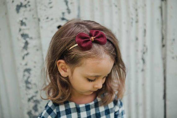 merlot merino wool felt bow / felt hair bow baby felt bow / hard headband, toddler headband, little girl hard headband, gold headband, merino felt bow, baby girl bow, leather and suede bow