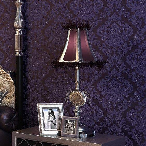 Luxury Vintage Dark Purple Damask Wall Paper Embossed Textured Flocking Glitter Background Wallpaper Home Decoration R66