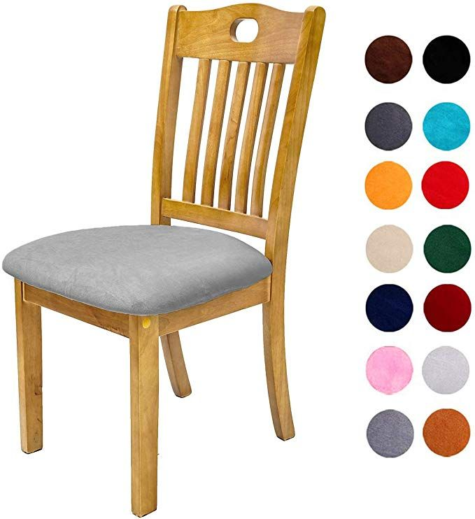 Comqualife Soft Velvet Dining Chair Seat Covers Stretchable Dining Room Upholstered Chair S Seat Covers For Chairs Dining Chair Seat Covers Upholstered Chairs