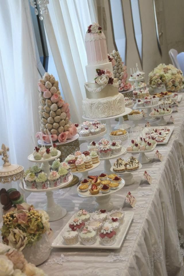 Beautiful Roses and Birdcages Themed Dessert Table by Cakes by Joanne Charmand   Little Big Company Large cake, selection of cupcakes and cake pops.