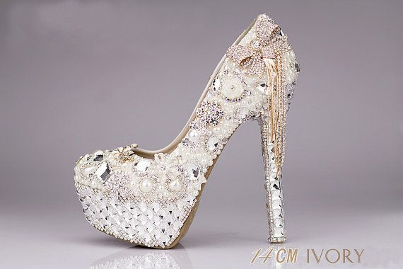 White pearl wedding shoes crystal wedding shoes by Queenheels