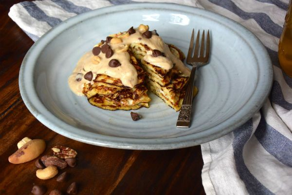 pannenkoek, banaan, ei, pindakaas, saus, ontbijt, foodness, new york, claartje, gezond, ontbijtje, pannenkoek, taart