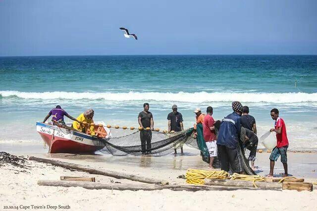 Trek fishermen at Fish Hoek South Africa