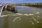 Picture: An interesting attraction in the city of Saint John, New Brunswick, the Reversing Falls on the Saint John River are a series of rapids which are overrun at high tide and reversed by the extreme tides of the Bay of Fundy.