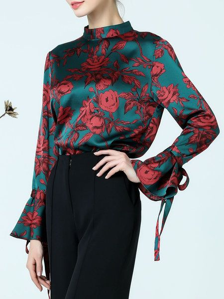 Multicolor Stand Collar Bell Sleeve Printed Floral Bow Blouse