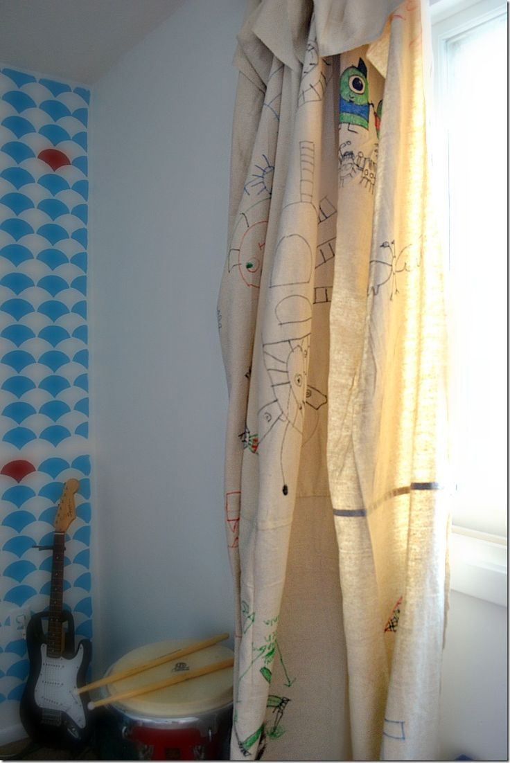 Closet curtains for kids - Drop Cloth Curtains A Great Kid S Room Idea