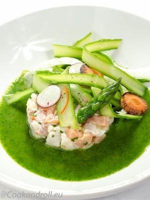 Ceviche de sébaste et saumon-tagliatelle d'asperges