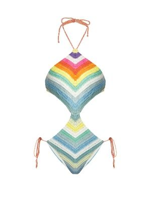Prismatic-striped crochet cut-out swimsuit | Mara Hoffman | MATCHESFASHION.COM US