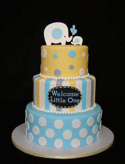 Elephant baby shower cake by cakesbyelisa, via Flickr