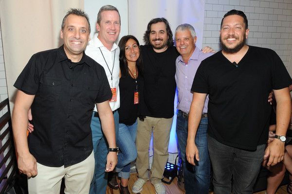 """Brian Quinn Photos Photos - (L-R) Joseph """"Joe"""" Gatto, Joe Hogan, EVP of Turner Emerging Consumer Ad Sales, Turner Broadcasting, Donna Speciale, President of Turner Broadcasting Ad Sales, Brian """"Q"""" Quinn, David Levy, President of Turner Broadcasting System, Inc., and Salvatore """"Sal"""" Vulcano attend the Impractical Jokers 100th Episode Live Punishment Special at the South Street Seaport on September 3, 2015 in New York City. 25654_003 - Impractical Jokers 100th Episode Live Event"""