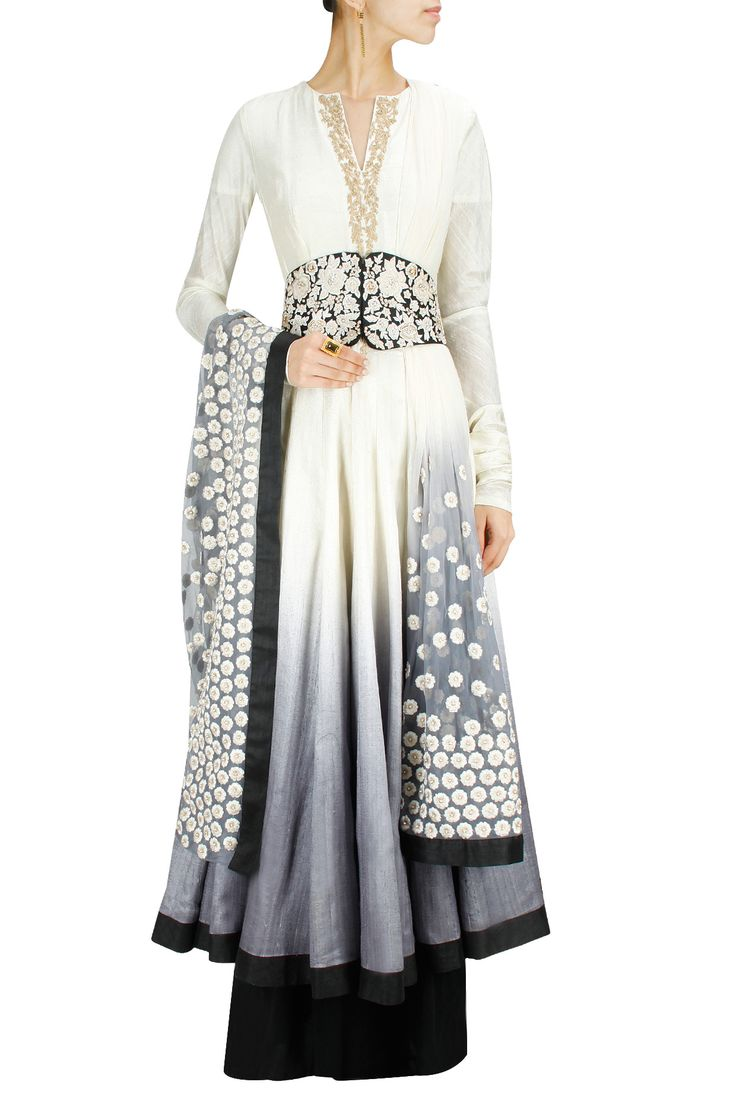 I am obsessed with anarkalis and i'm loving this white to black obmréd one!! Grey shaded embroidered anarkali set BY RIDHI MEHRA. www.perniaspopups.com