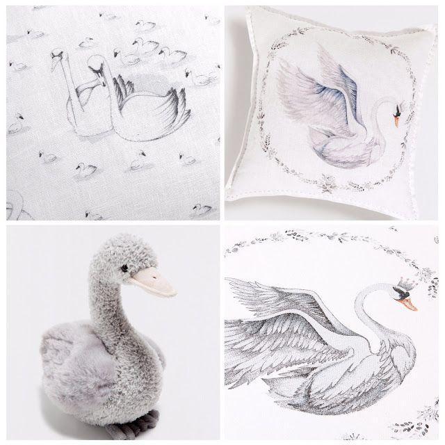 Tiny Tiddlers blog: Zara home Kids: Swan nursery theme: swan decor: swan illustration