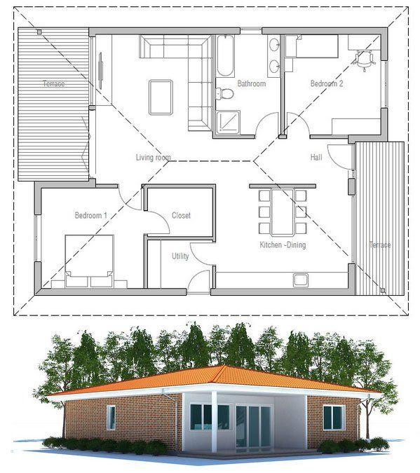 Best Two Bedroom House Plans Images On Pinterest Architecture - Two 2 bedroom houses and homes
