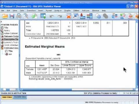 Analysis of Covariance (ANCOVA) - SPSS (part 5) - YouTube