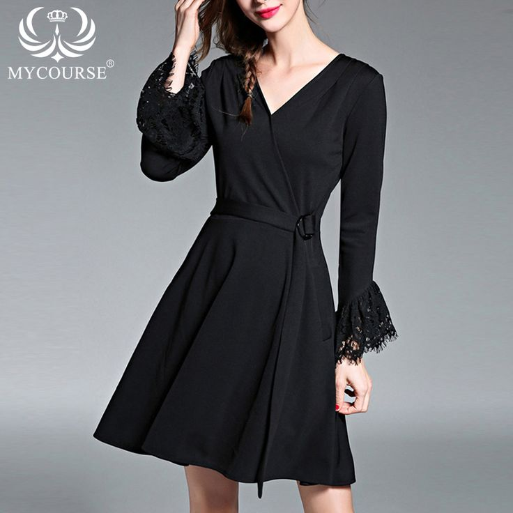 Find More Dresses Information about MYCOURSE Women Autumn Dress Lace Long Sleeve Black Bodycon Deep V Neck Midi Dress with Belt Hollow Party Sexy OL Women Dresses,High Quality dress snake,China midi golf Suppliers, Cheap dress tube from MYCOURSE on Aliexpress.com