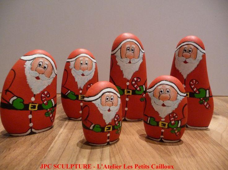 """Image - ARTISANAT D'ART: Galet peint """"Père Noël avec canne"""" - Ref 206 - Prix 05-08-10-12 Euros - Blog de JPC-SCULPTURE - Skyrock.com"""