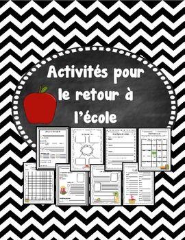 Activités pour le retour à l'école (French Back to school