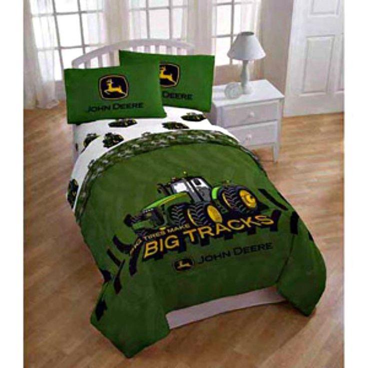 John Deere Big Tracks Reversible Comforter Twin Full Bed Green Tractor Kids New  885132708044 | eBay