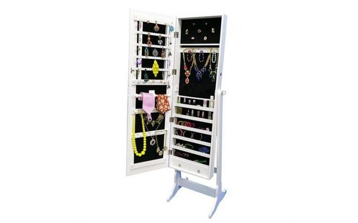 Full Length Mirror Floor Make Up Jewellery Cabinet Vanity Storage Lock Armoire