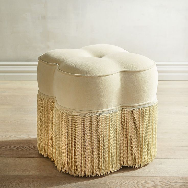 Perla Backless Rolling Stool Ivory