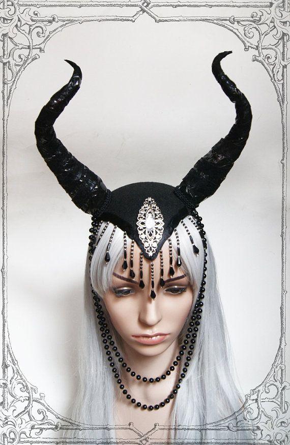 Strega regina copricapo (corna, diavolo, Goth, fantasia)