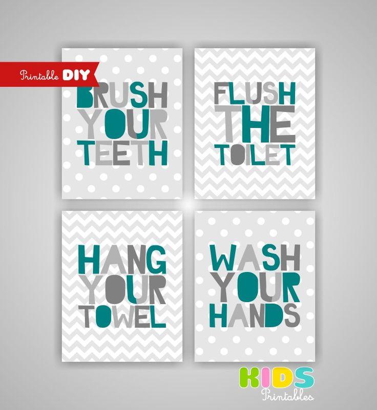 printable diy kids bathroom art teal and grey grey brush flush