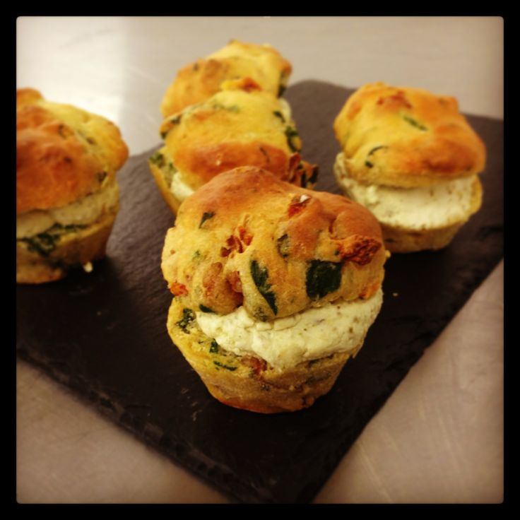 Our delicious homemade goat's cheese and sundried tomato savoury muffins!