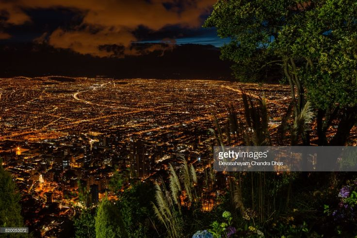 Stock Photo : Bogota, Colombia - Striking High Angle View of the Capital City from the Andean Peak of Monserrate after Sunset