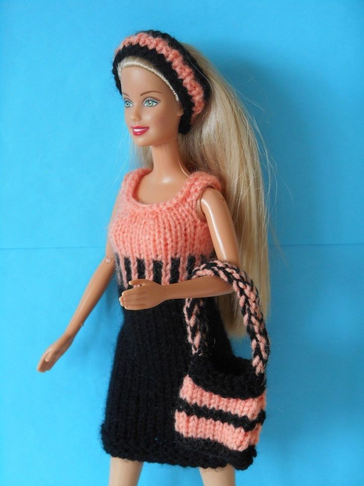 Hand knitted clothes for Barbie/Sindy dolls Black/apricot dress, bag & hairband | eBay