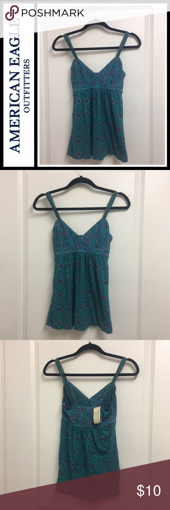 American Eagle 🦅 aztec floral print tank NWT New with tags, smocked back - size small American Eagle Outfitters Tops Tank Tops