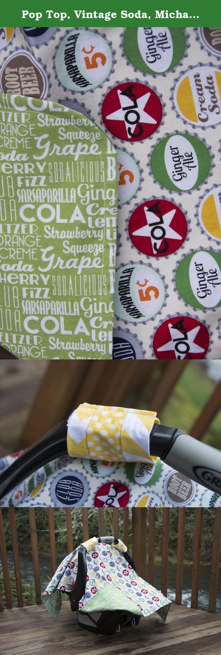 Pop Top, Vintage Soda, Michael Miller Unisex Infant Car Seat Cover/Canopy. This listing is for a ONE OF A KIND Michael Miller, Pop Top, Vintage Soda cover, featuring a cuddly teddy bear with playful bumble bees. Perfect for BOY or GIRL this cover features tones of blue, yellow, and green! Our handmade infant car seat covers for baby boys and baby girls are essential to keeping your baby covered, protected, and happy. These help protect them from harsh sunlight, rain, snow and wind…