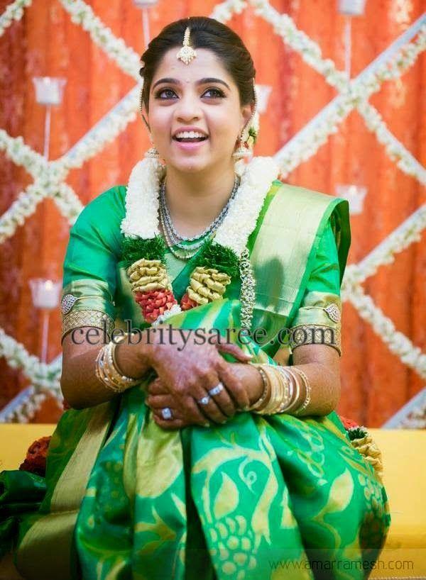 Bride in Green Uppada Saree | Saree Blouse Patterns