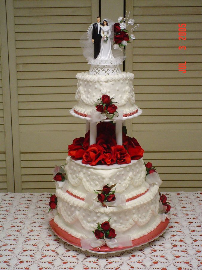 40th wedding anniversary heart cakes buttercream | red white heart tiered wedding cake heart shaped tiers in red and ...