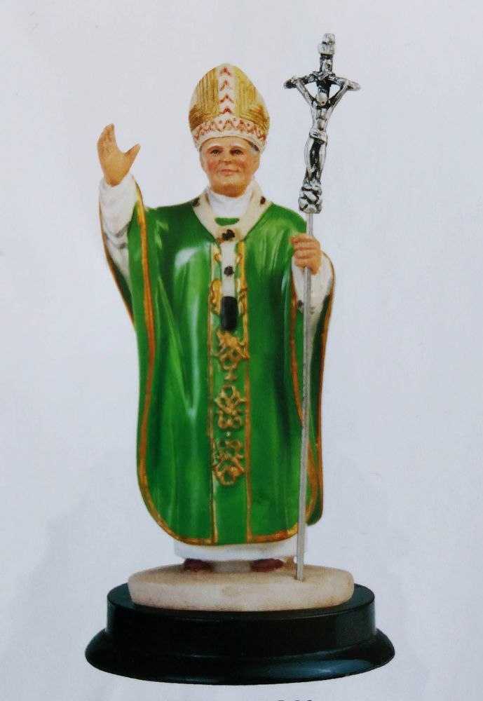 5 Inch Pope John Paul II Holy Collectible Statue Figurine Saint Religious Green