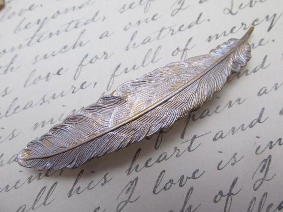 Feather Bridal barrette Feather Barrette Hair door MyElegantThings