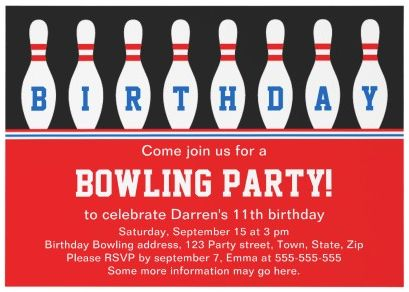 17 Best images about Bowling Birthday Party – Bowling Party Invitation Wording