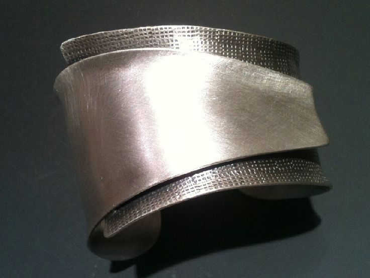 "Cuff | B Nelson Designs.  ""Reduction"" Sterling Silver-2 silver textures would look good in paper/card backgrounds"