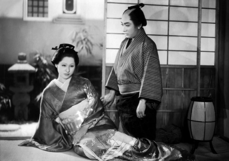 "Kyoko Kagawa in costume for the film ""Chikamatsu Monogatari"" aka  ""The Crucified Lovers"" (1954) with Eitarô Shindô"