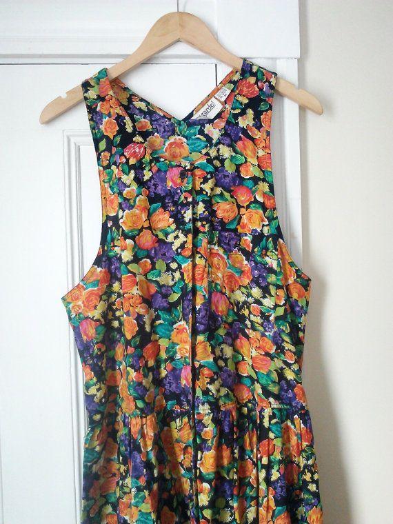Vintage 80's Cotton  Floral Jumper Dress by by JulesCristenVintage