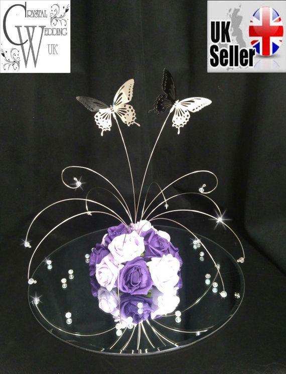 Centro de mesa de boda de cristal Butterfly fuente Hecho con grande claro ab Swarovski Elements & real Preciosa plomo cristales cristales perlas y real ver rosas de espuma 2 x brillantes mariposas espejo plata - tienen una envergadura de 3 grandes Plata no empañar de colores