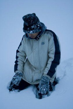 """A man in his salaah (shalat) in the snow. """"Love comes before obedience."""" ~Shaykh Ahmed Babikir"""