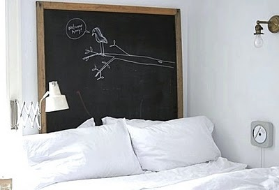 Fun idea for a headboard....this way you can immediately write down your dreams before you forget them :)