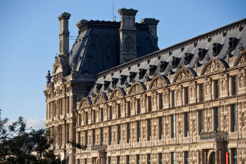french roofs | Mansard roof at the Louvre Museum in Paris, France