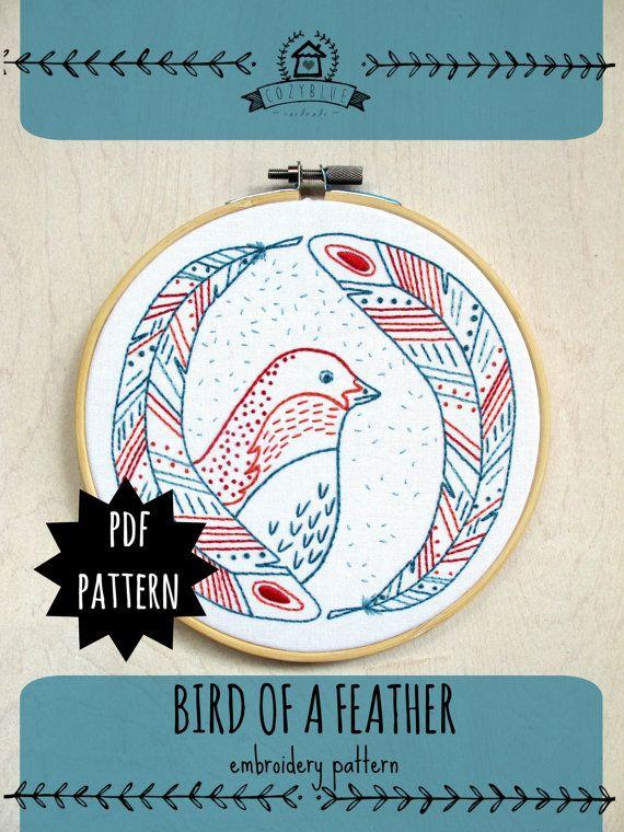 BIRD OF A FEATHER - pdf embroidery pattern, embroidery hoop art, bird wall art, nursery art, bird head and feathers, cozyblue on etsy