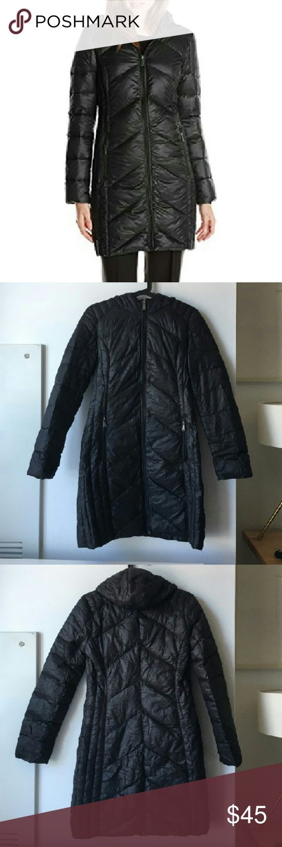 BCBG packable down jacket Ultra light weight packable down jacket by BCBGeneration. Super soft and insulated. In perfect condition. Genuine down fill; mixture of down and feathers. 100% nylon. Machine wash. Packable pouch included. No rips, tears or stains. BCBGeneration Jackets & Coats