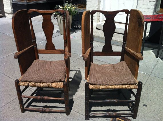 Pair of Queen Anne side chairs recently adapted into make do chairs with  antique wood 35 best Upholstered chairs  sofas and make do chairs  images on  . Antique Queen Anne Upholstered Chairs. Home Design Ideas