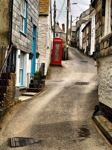 Port Isaac, Cornwall, England, UK. The road into the town of Port Isaac is just as steep. I remember many years ago, my mother insisting on getting out of the car with me while my dad drove down into the town!